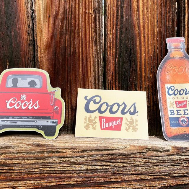 We don't know about you but we love covering our beer fridge with stickers!  #stickers  #beer #coors #coorsbanquet #brews #brewery #coorsgiftshop